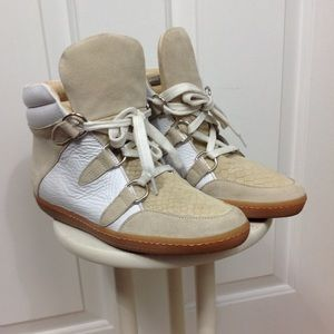 NEW Sandro White Leather High Top Sneakers